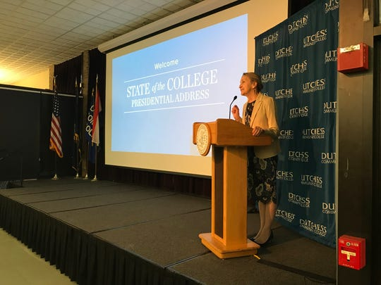 Dutchess Community College President Pamela Edington delivers her State of the College address at the college campus Thursday morning.