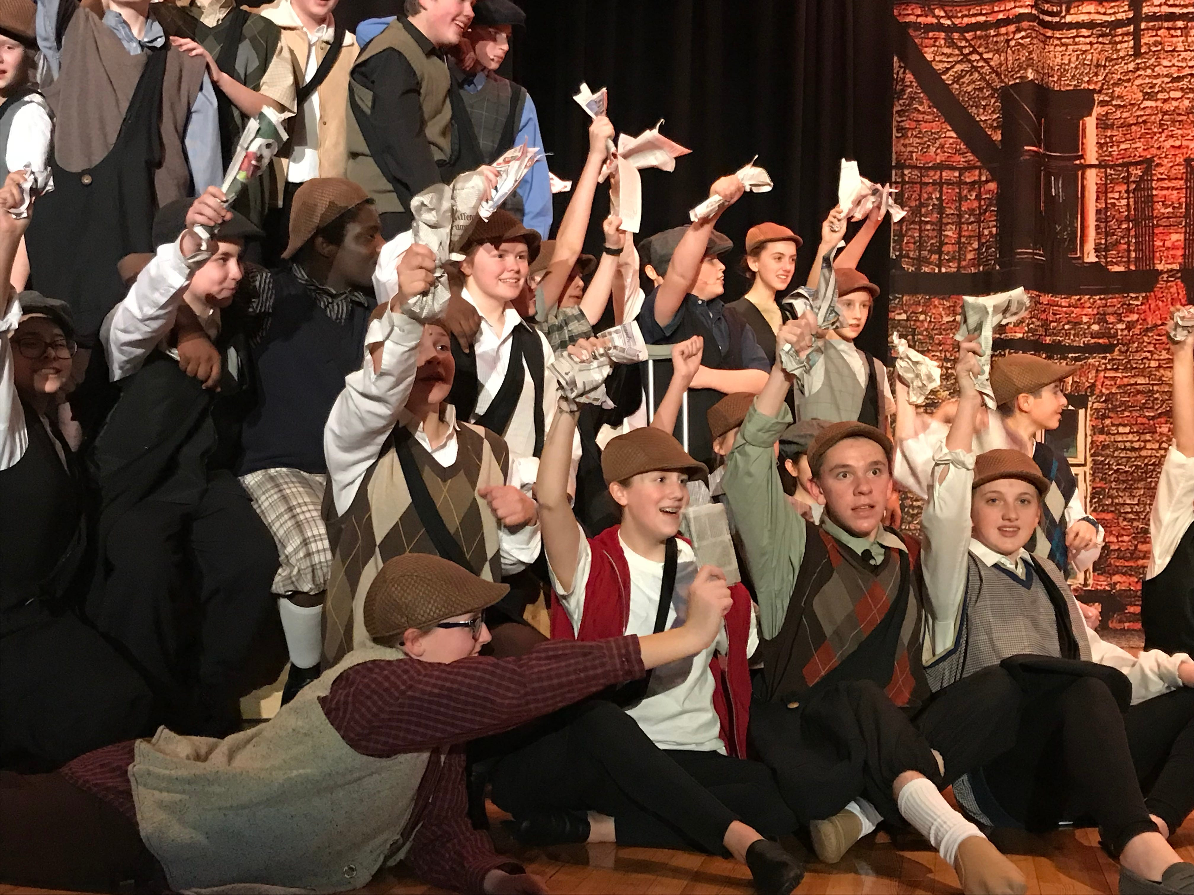 """Chambersburg Area Middle School North's Drama Club rehearses for its latest production, """"Newsies,"""" on Wednesday evening, Jan. 23, 2019. Show times are 7:30 p.m. Feb. 1 and 2 in the CAMS North auditorium. For tickets, $8 plus fees, go to showtix4u.com."""