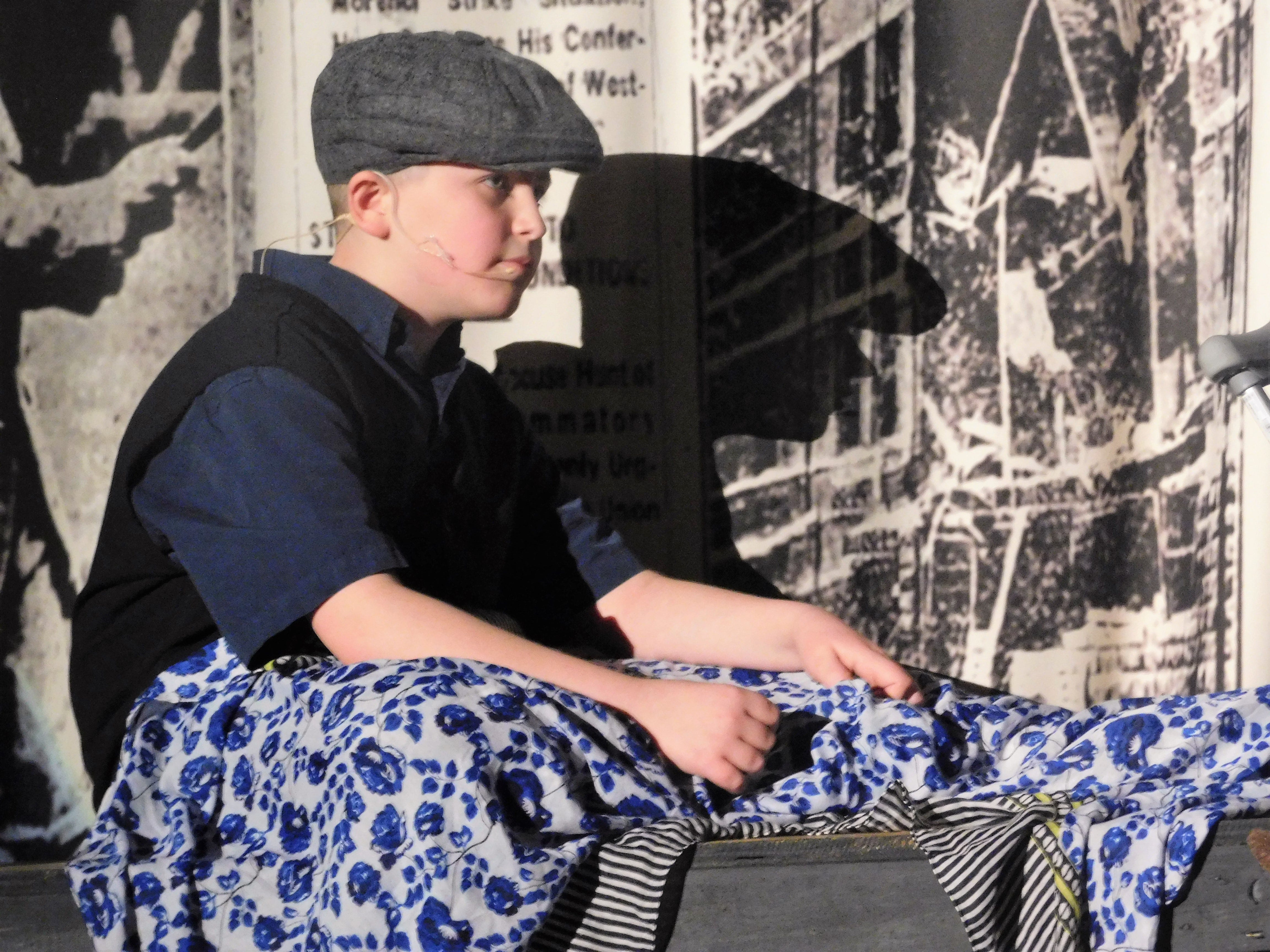 """Mason Truman rehearses a scene as Crutchie from Chambersburg Area Middle School North Drama Club's latest production, """"Newsies"""" on Wednesday, Jan. 23, 2019. Show times are 7:30 p.m. Feb. 1 and 2 in the CAMS North auditorium. For tickets, $8 plus fees, go to showtix4u.com."""
