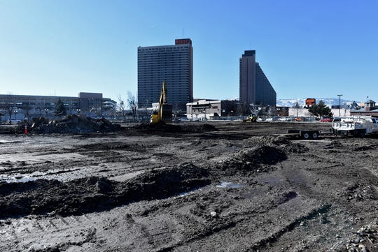 The former Bourbon Square Casino lot on Victorian Square on Jan. 24, 2019. Marnell Gaming is building the 8,958-seat Nugget Event Center on the site.