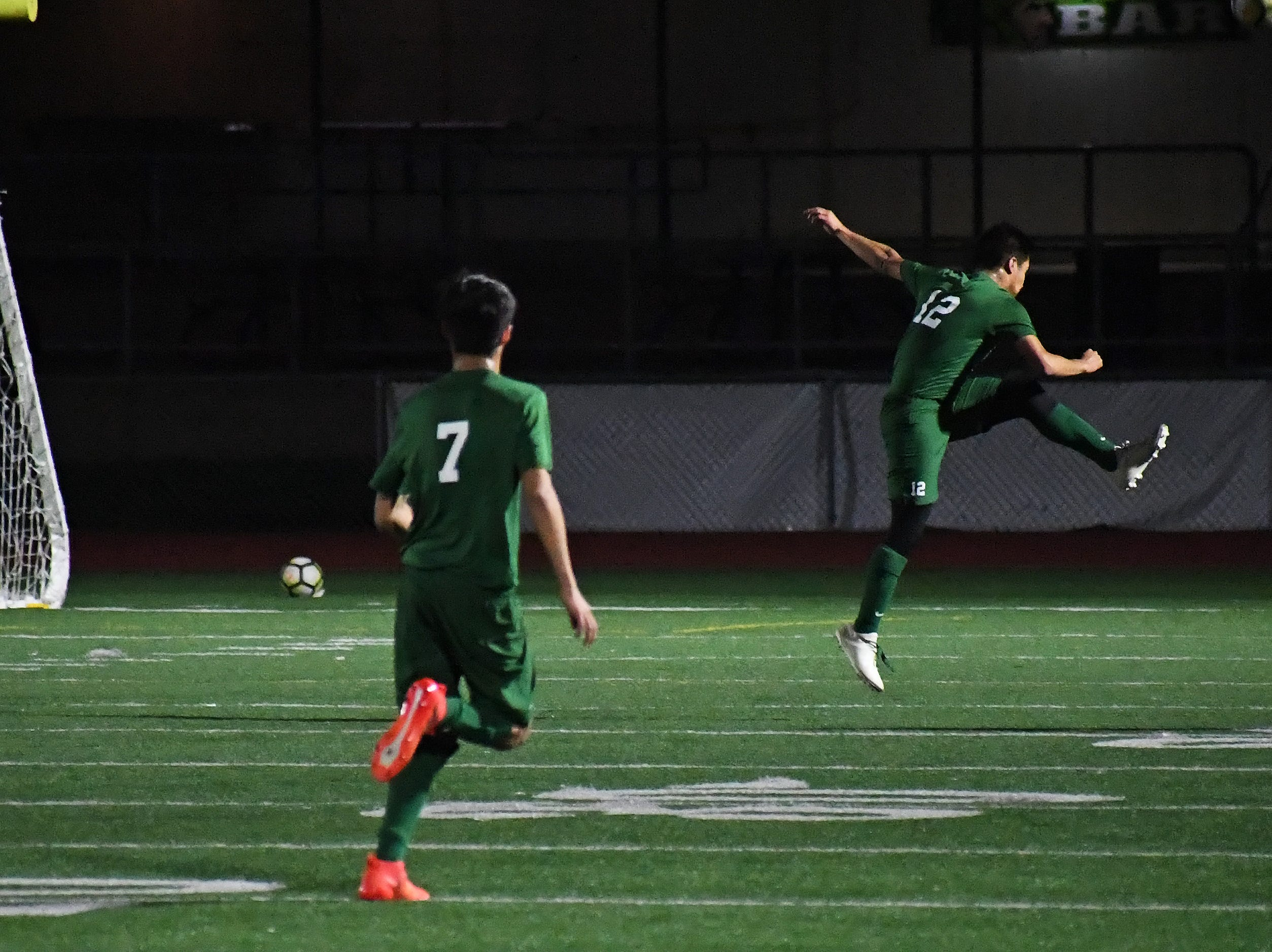 Alisal midfielder Jesus Gregorio (12) clears the ball away from the Alisal goal.