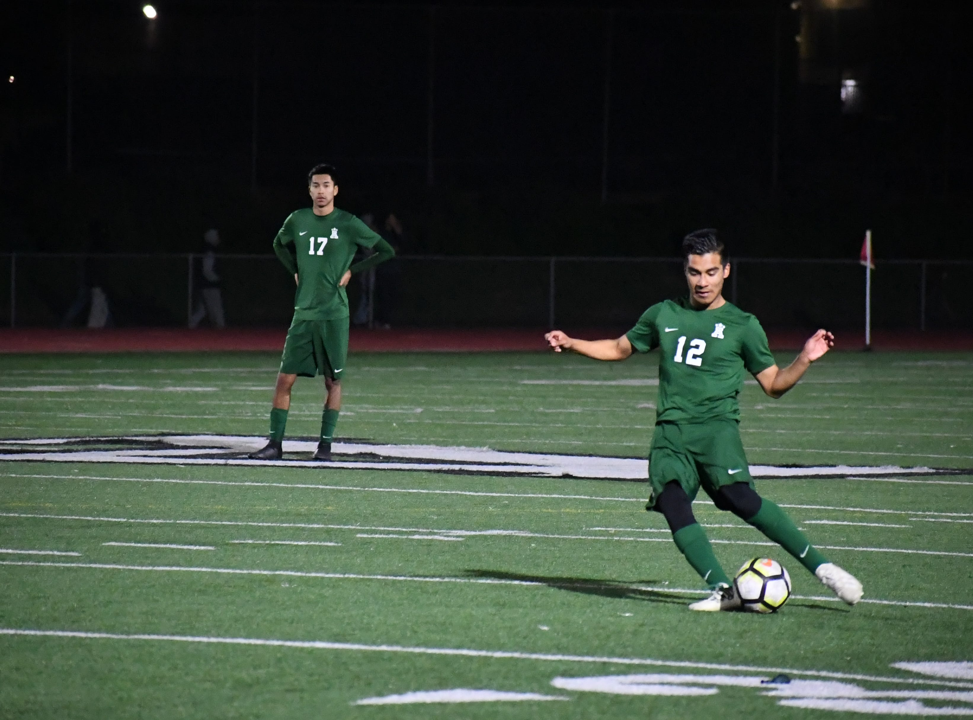 Alisal midfielder Jesus Gregorio (12) fires a pass near the box.