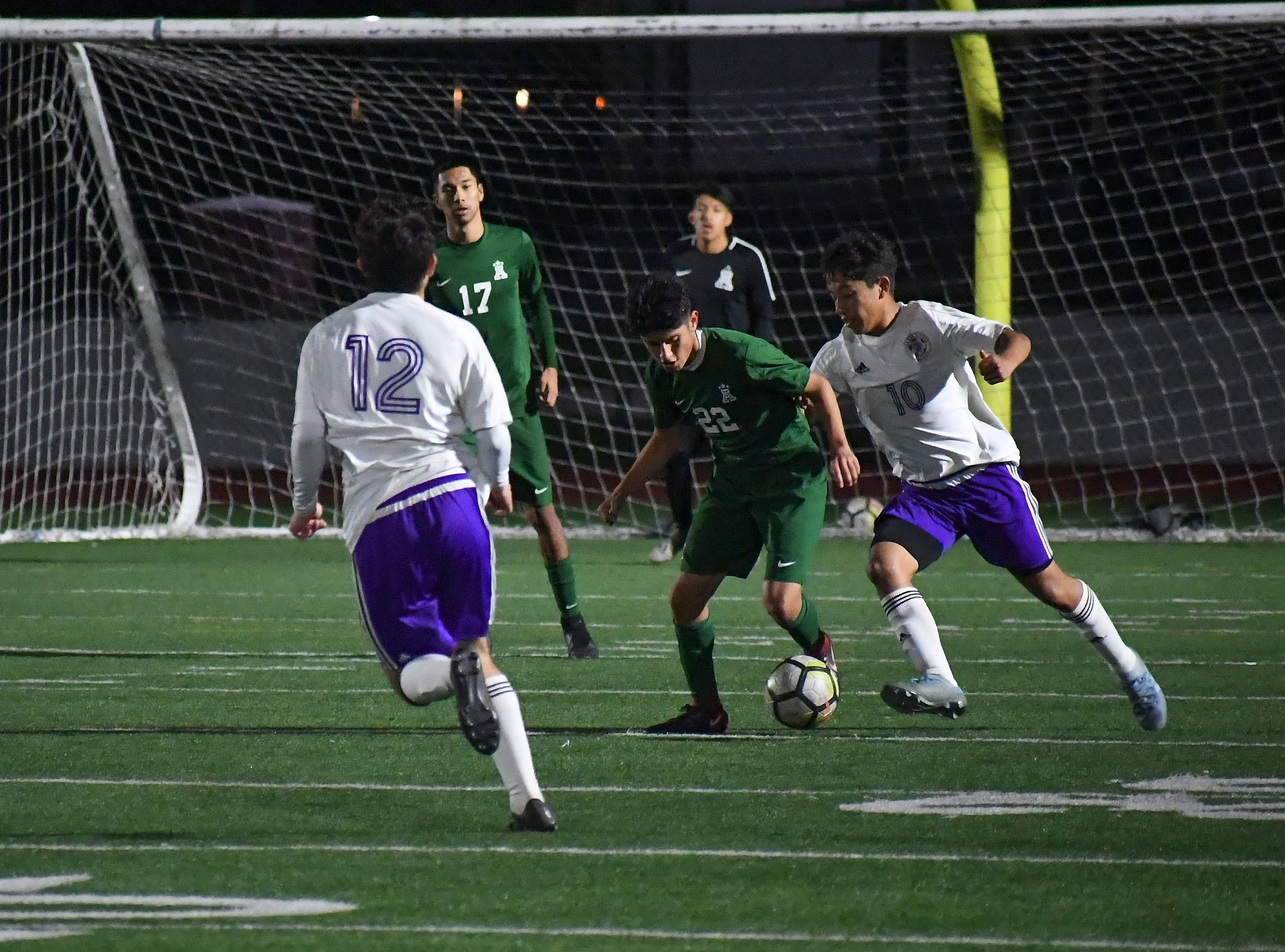 Alisal defender Joel Garcia (22) re-takes possession of the ball in the first half.
