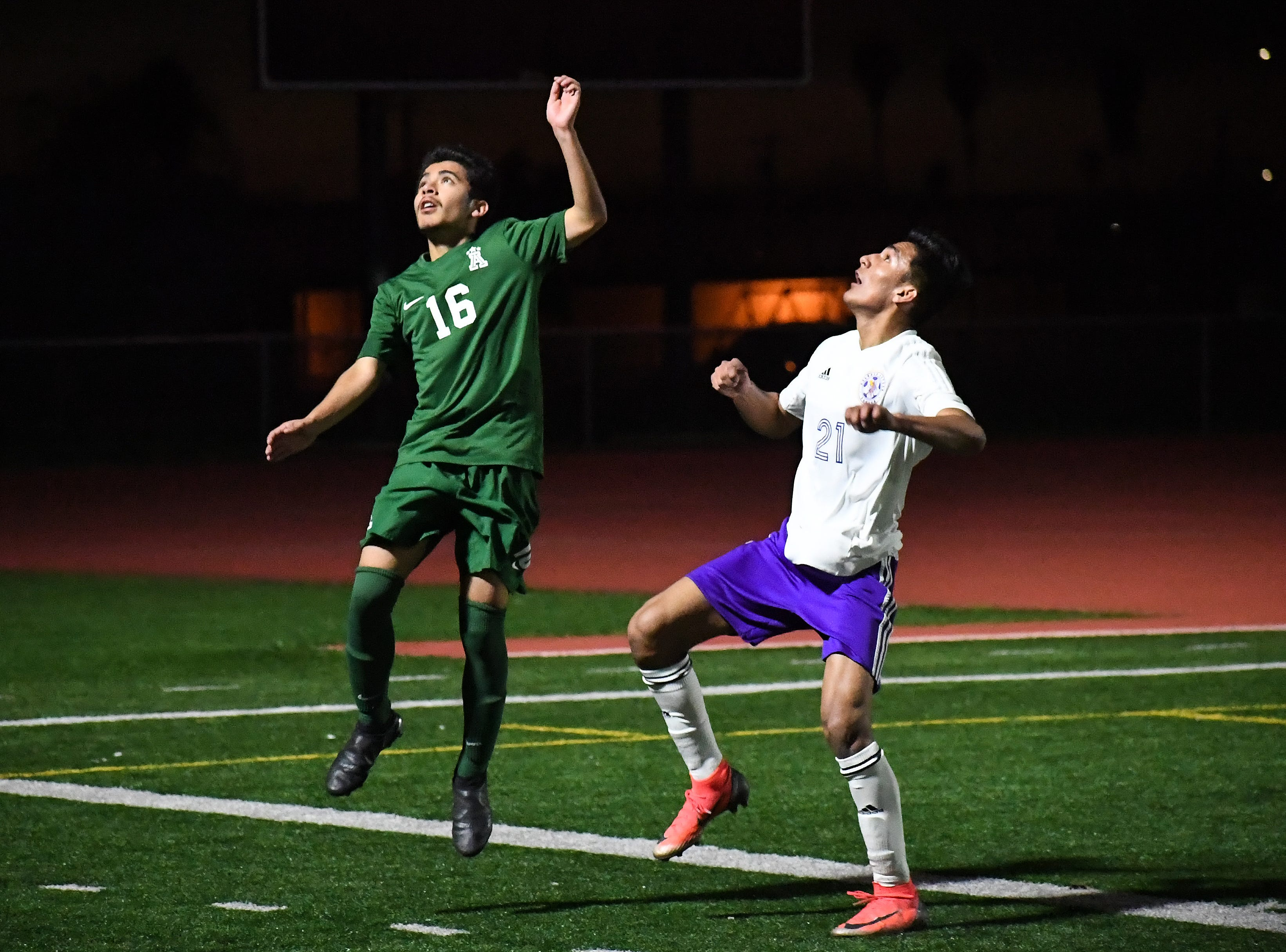 Alisal forward Orlando Juarez-Hernandez (16) jumps up for a header.