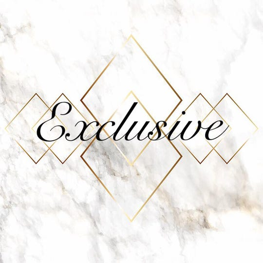 The logo for Exclusive, located at 2220 Sherwood Way.