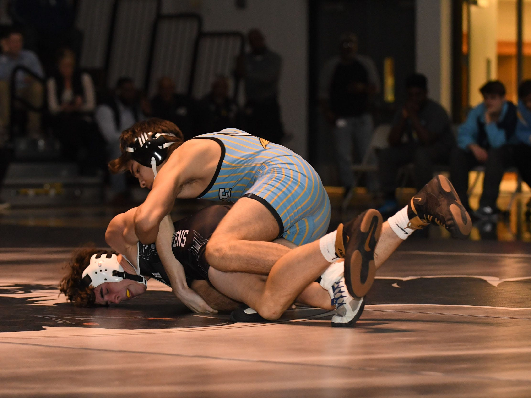 Sussex Tech's Parker Selzer faced off against Cape Henlopen's Juan Lares during the 145lb match on Wedenesday, Jan. 23, 2019 at Sussex Tech High School in Georgetown, Del.