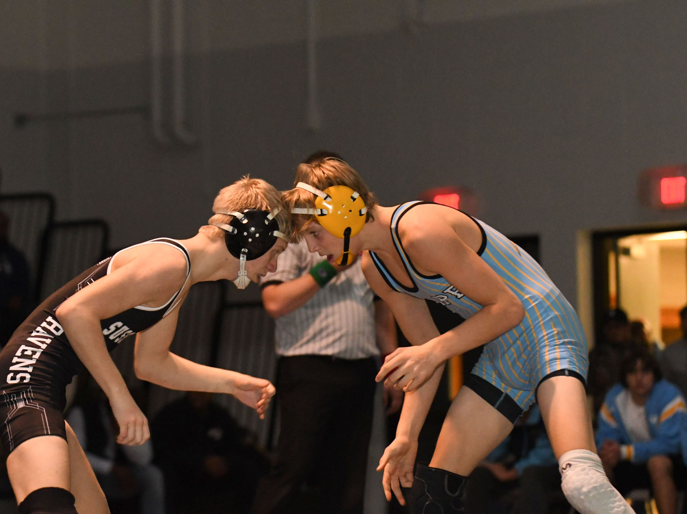 Sussex Tech's Mason Rolph faced off against Cape Henlopen's Carson Kammerer during the 120lb match on Wedenesday, Jan. 23, 2019 at Sussex Tech High School in Georgetown, Del.