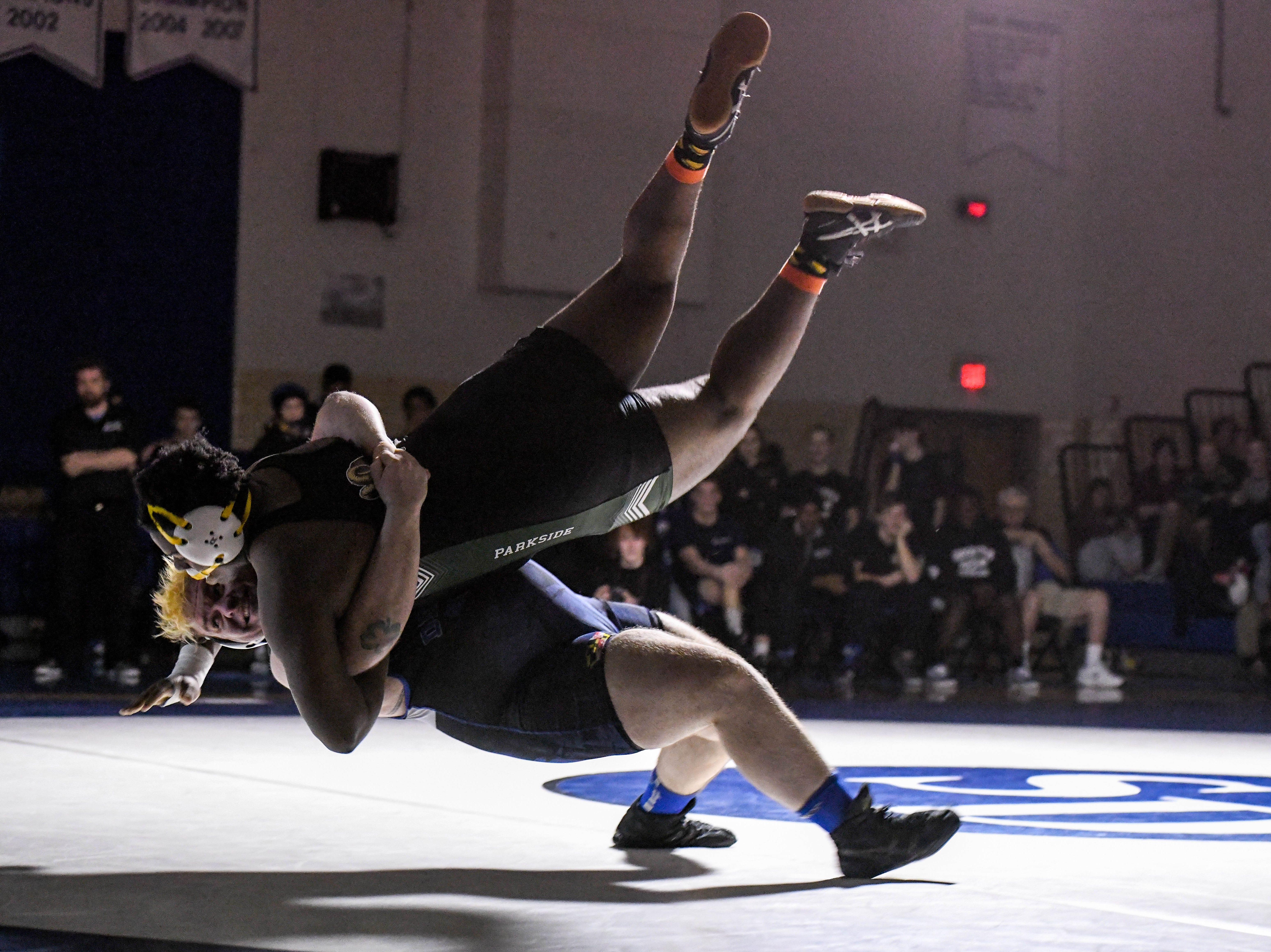Stephen Decatur's Dakota Souder wrestles against Parkside's Mike Collins in the 285 match up at Stephen Decatur High School on Wednesday, Jan. 23, 2019.