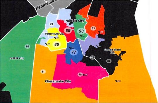 New Norfolk area redistricting map.