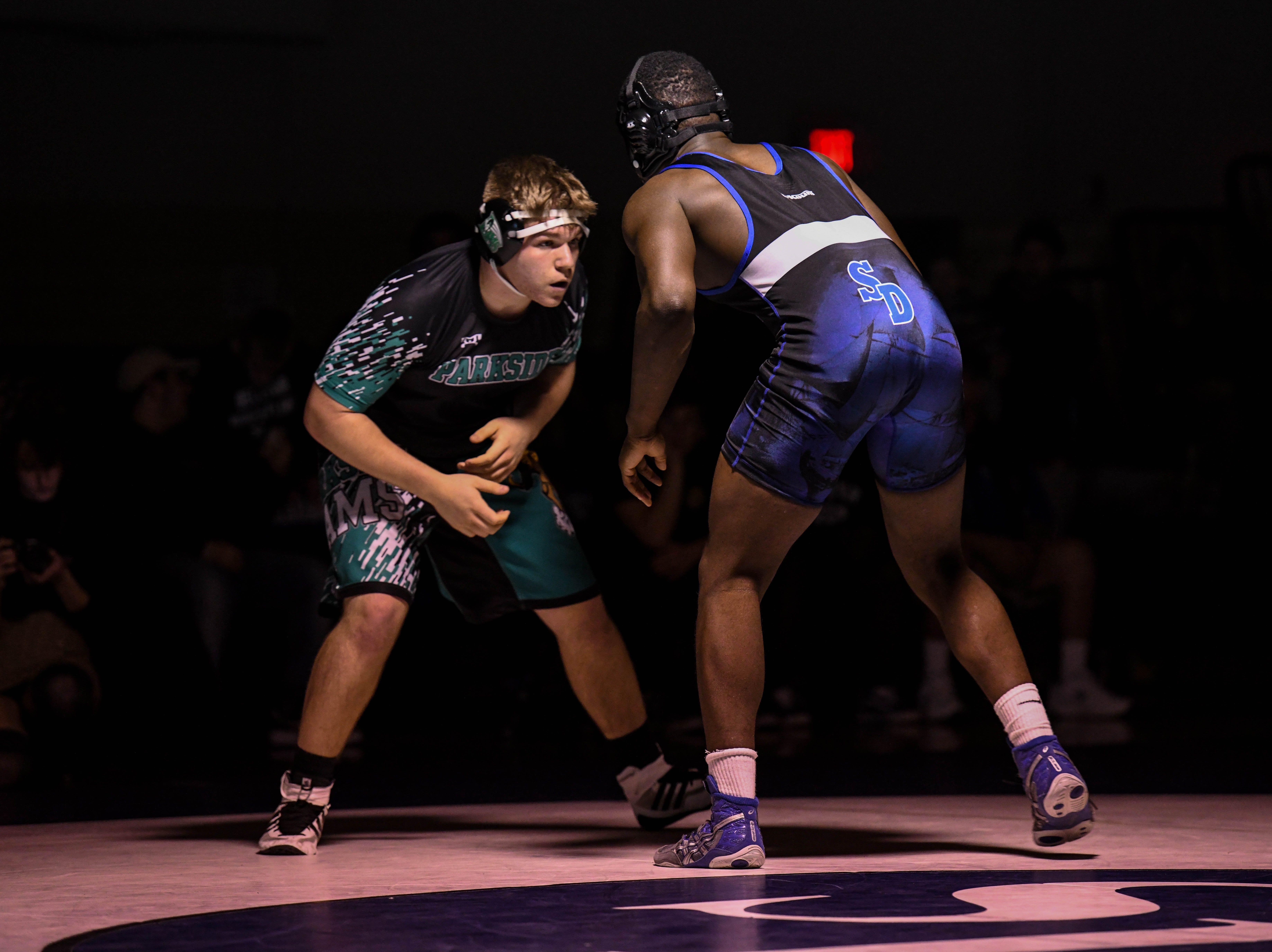 Stephen Decatur's Daletez Smith wrestles against Parkside's Alex Waidner in the 220 match up at Stephen Decatur High School on Wednesday, Jan. 23, 2019.