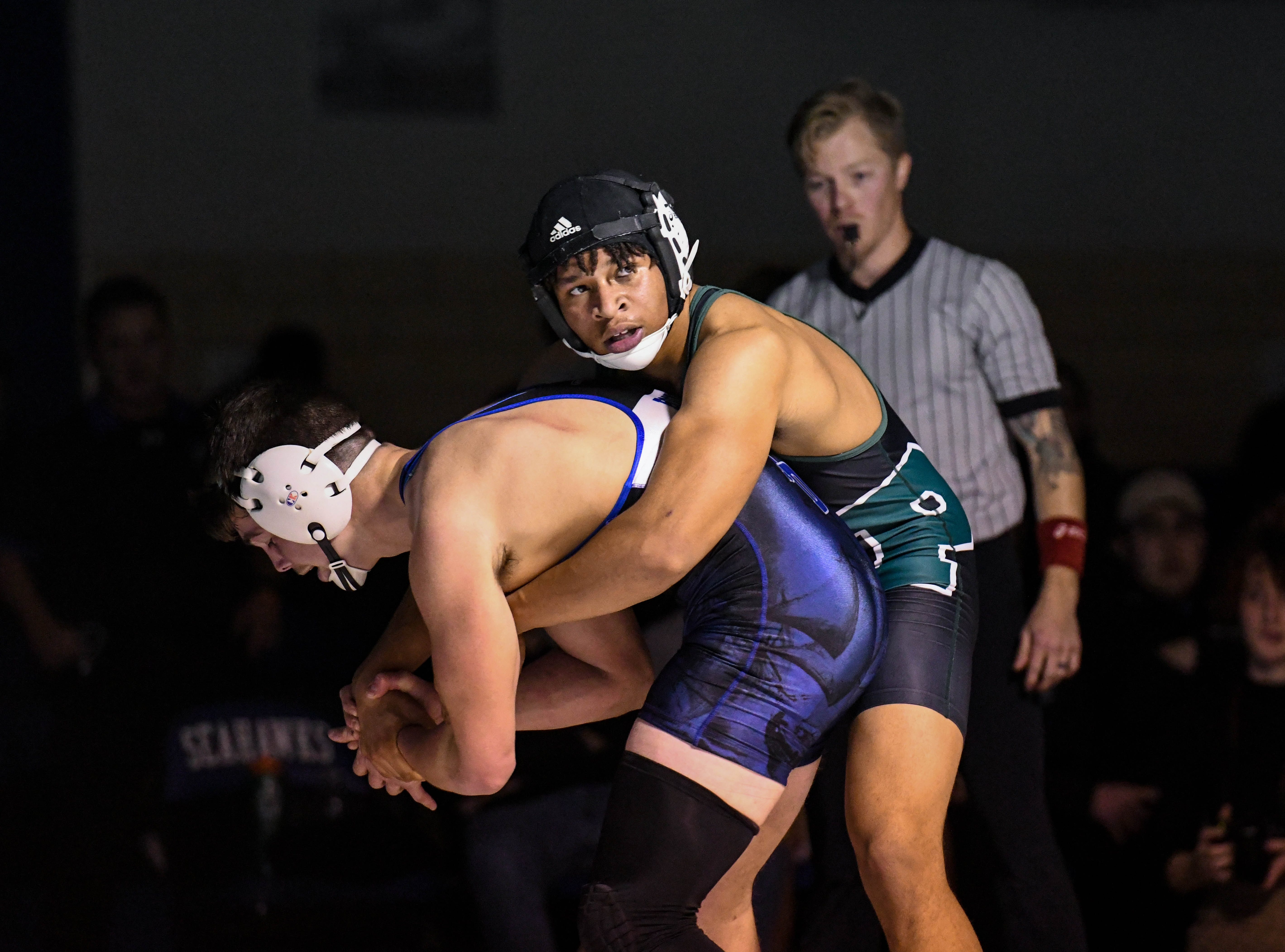 Stephen Decatur's Micah Bourne wrestles against Parkside's Justin Tucker in the 182 match up at Stephen Decatur High School on Wednesday, Jan. 23, 2019.