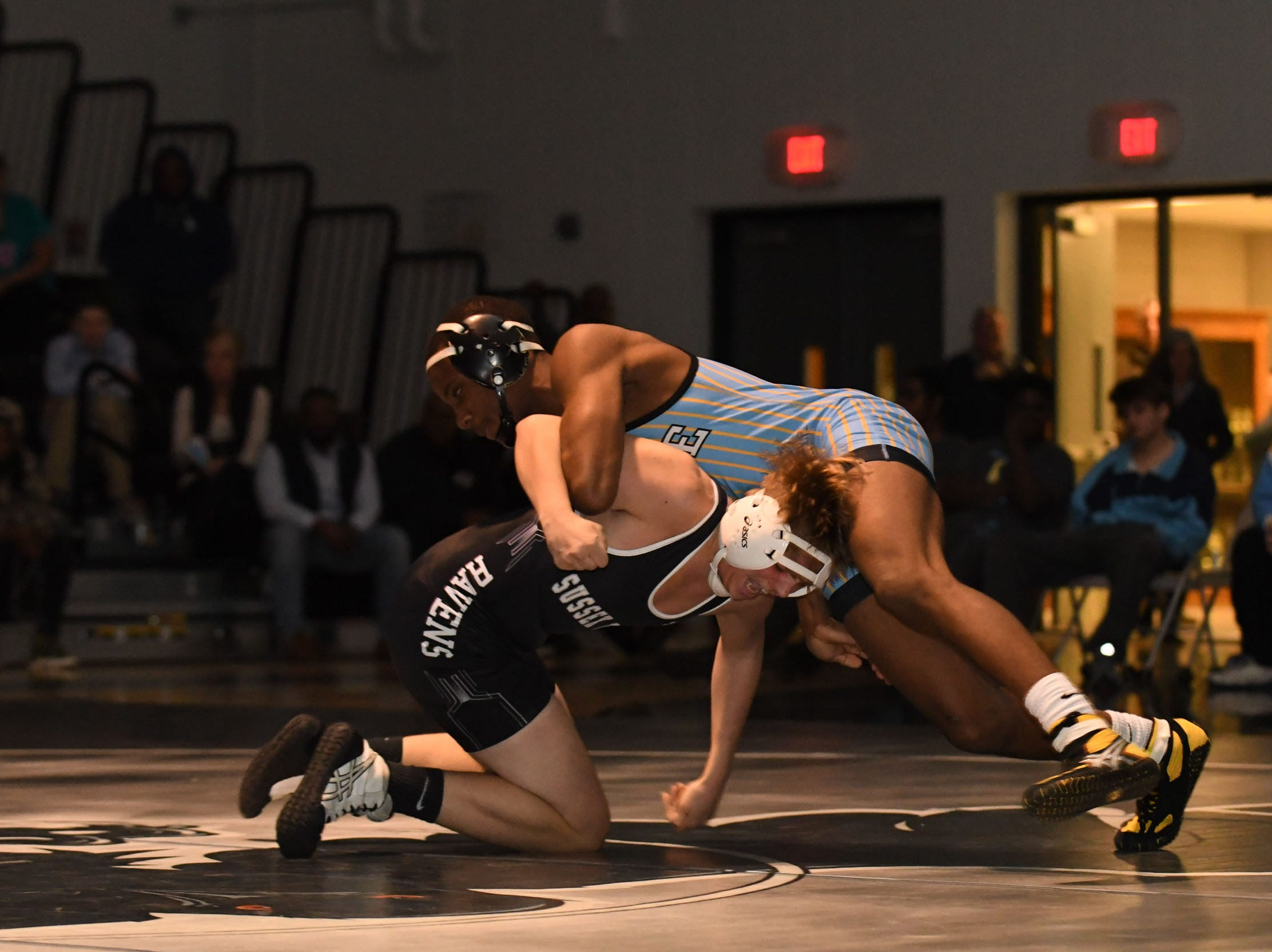 Sussex Tech's Trent Broomall faced off against Cape Henlopen's Andre Currie during the 152lb match on Wedenesday, Jan. 23, 2019 at Sussex Tech High School in Georgetown, Del.