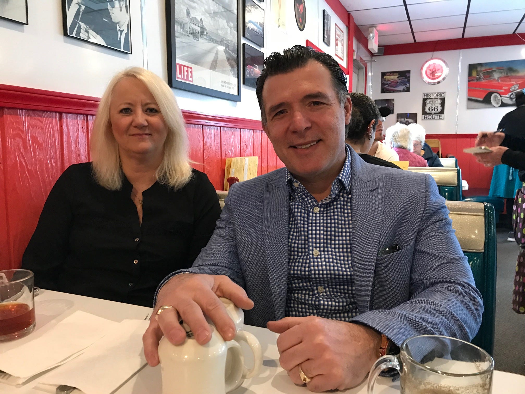 Christina Latifi and Harry Ljatifovski at Harry's Diner on Jan. 22, 2018.
