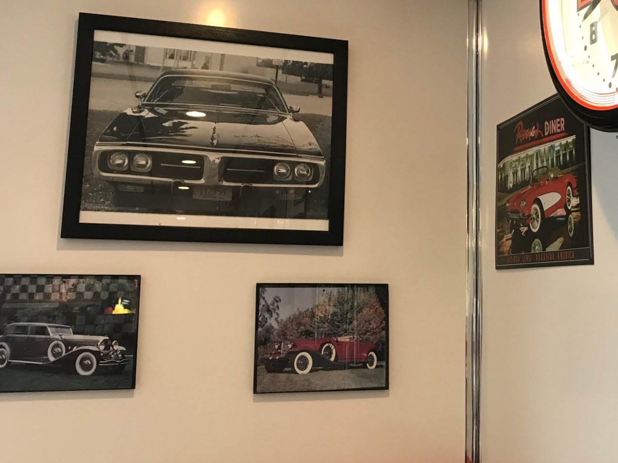 Throughout Harry's Diner are mementos of the 50s like a photo of Ljatifovski's 1973 Dodge Charger