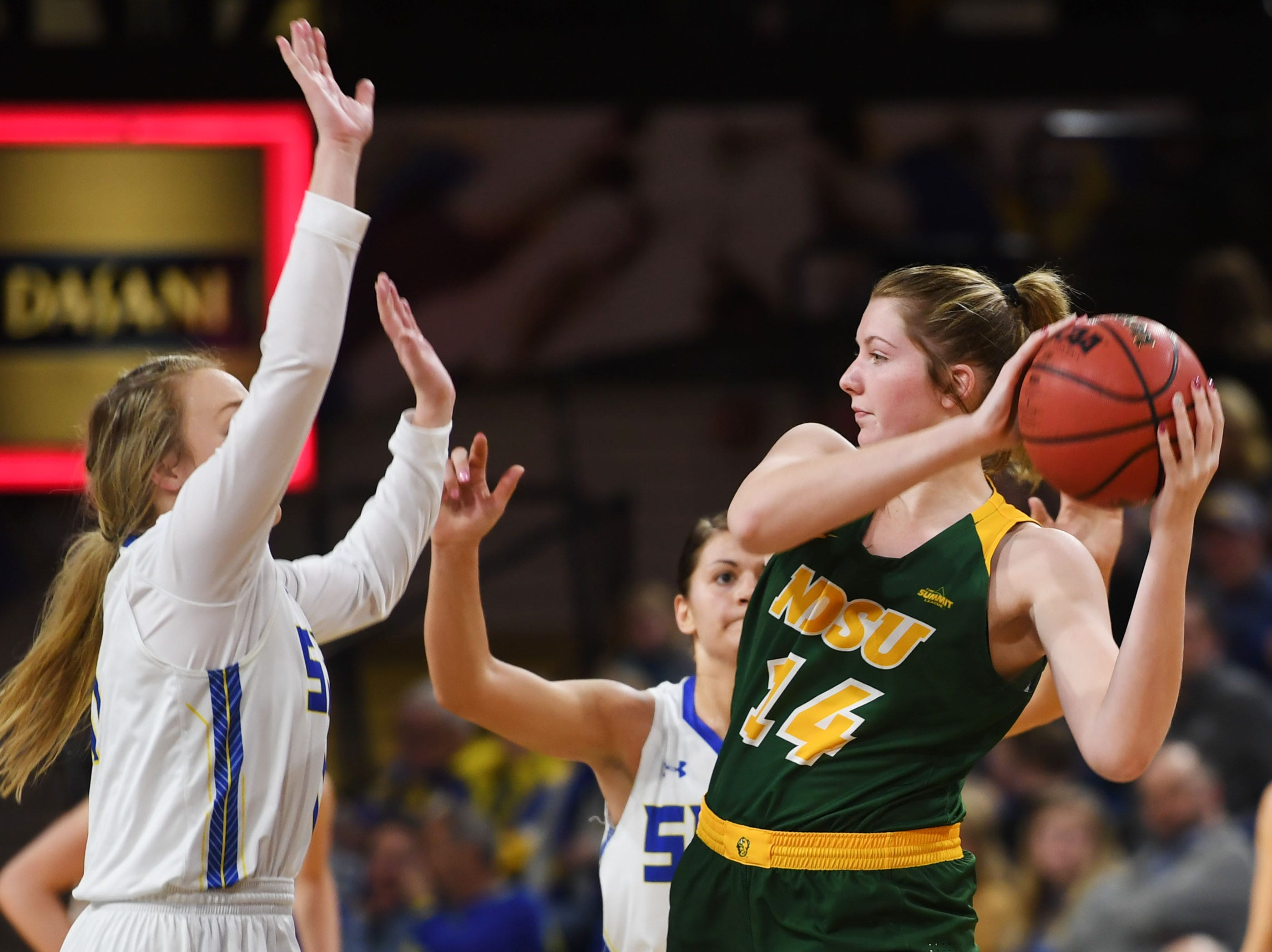NDSU's Macey Kvilvang goes against SDSU defense during the game Wednesday, Jan. 23, at Frost Arena in Brookings.