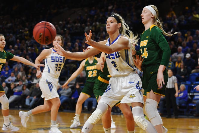 SDSU's Tylee Irwin goes against NDSU's Danneka Voegeli during the game Wednesday, Jan. 23, at Frost Arena in Brookings.