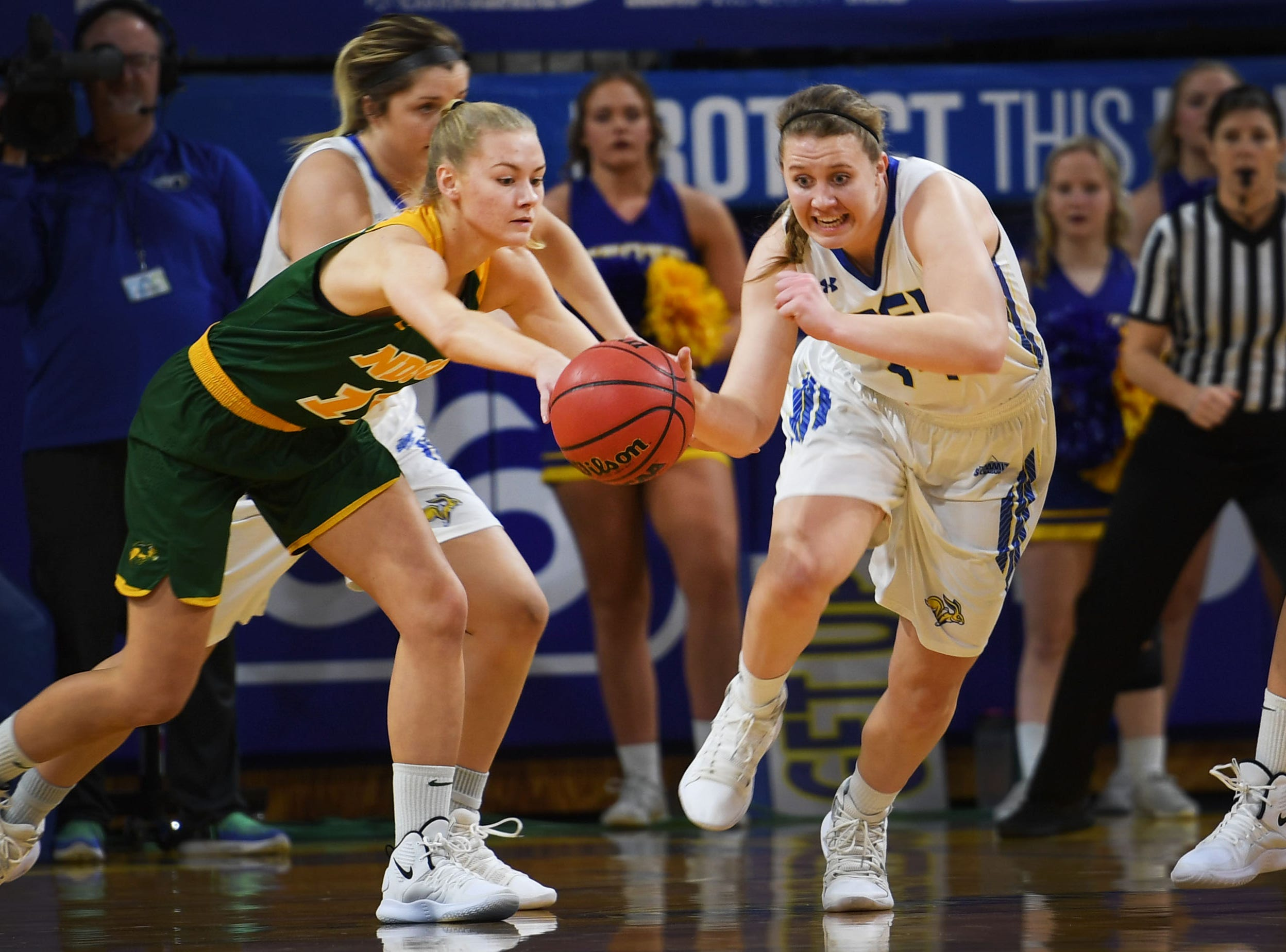 NDSU's Cirkeline Rimdal goes against SDSU's Myah Selland during the game Wednesday, Jan. 23, at Frost Arena in Brookings.