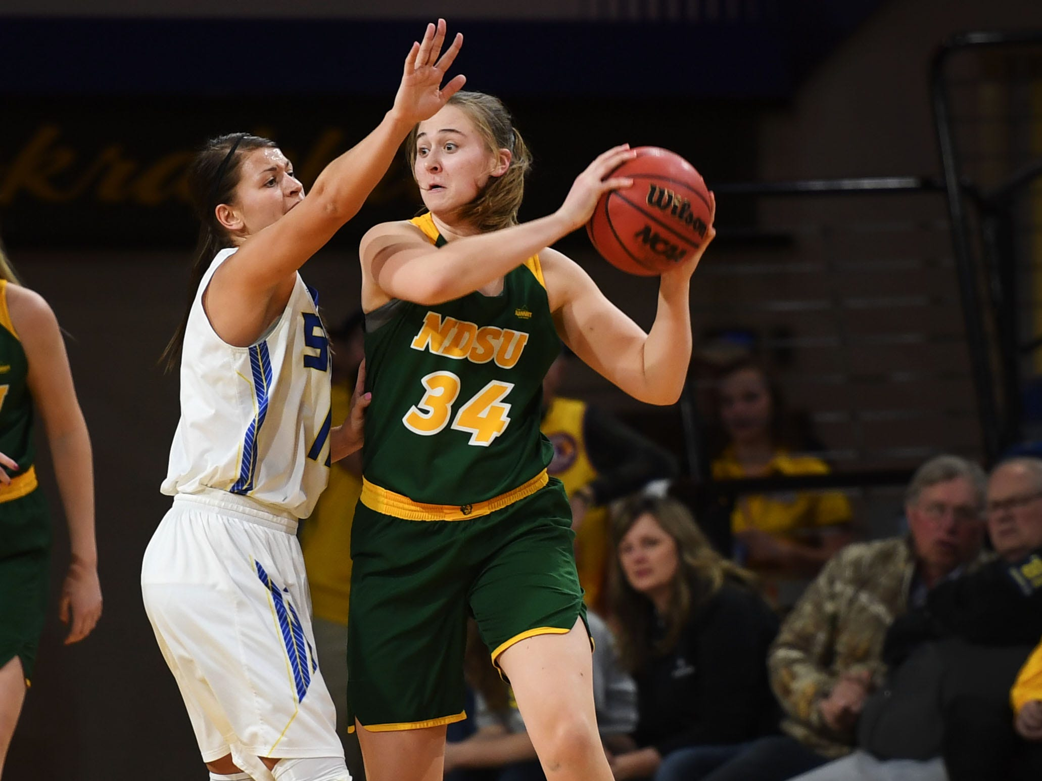 NDSU's Emily Dietz goes against SDSU defense during the game Wednesday, Jan. 23, at Frost Arena in Brookings.