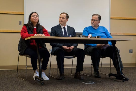 Delilah Rouse, student (left), James Nold, assistant superintendent, and Kent Alberty, the Sioux Falls school board president, speak at a press conference where they announced the names of the new middle school and high school in Sioux Falls, S.D., Thursday, Jan. 24, 2019.