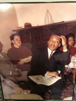 Martin Luther King Jr. is pictured with the a copy of the Argus Leader during his visit to Sioux Falls in 1961.