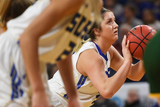 SDSU's Paiton Burckhard shoots a free throw against NDSU Wednesday, Jan. 23, at Frost Arena in Brookings.