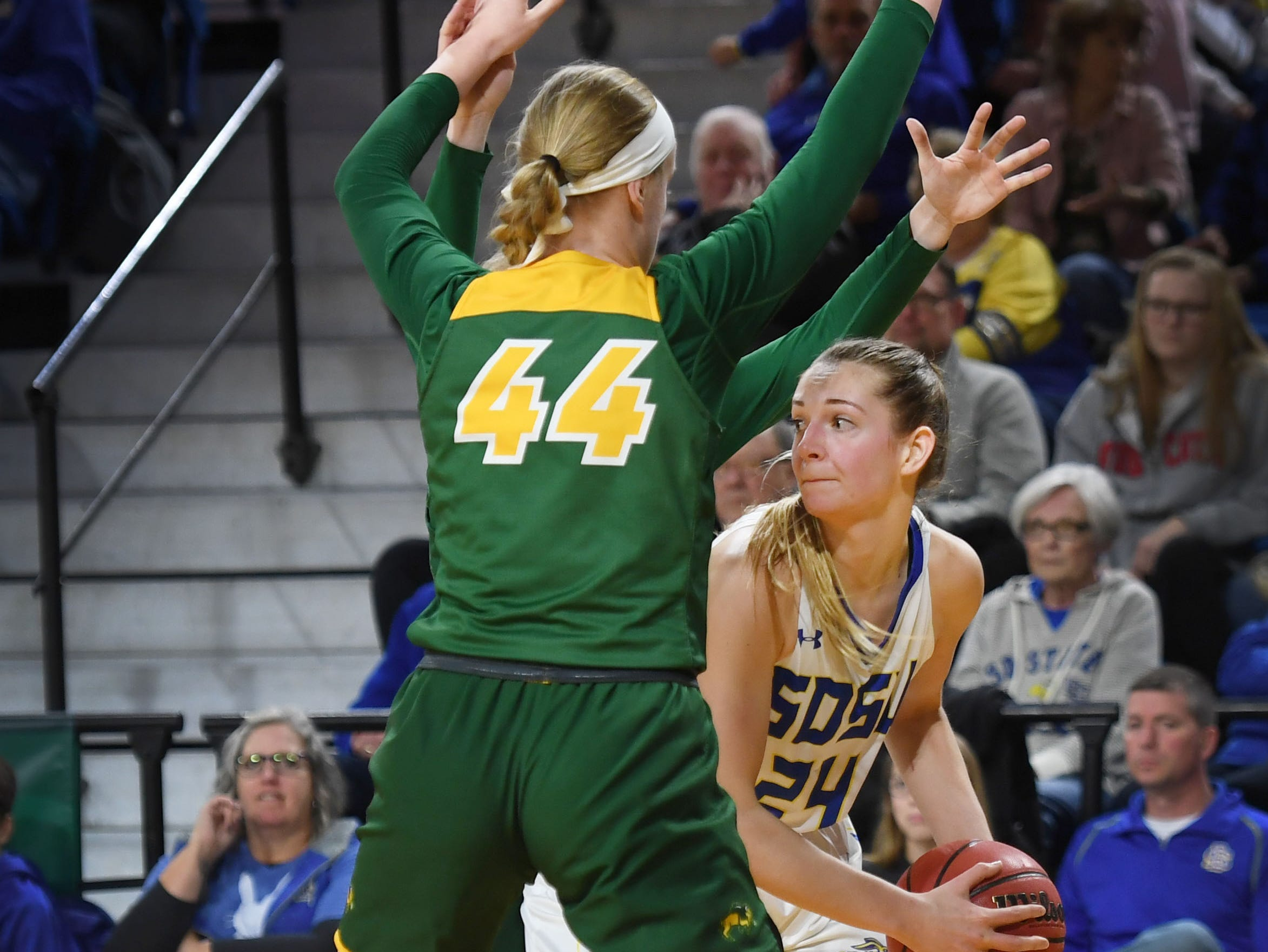 SDSU's Tagyn Larson goes against NDSU's Danneka Voegeli during the game Wednesday, Jan. 23, at Frost Arena in Brookings.