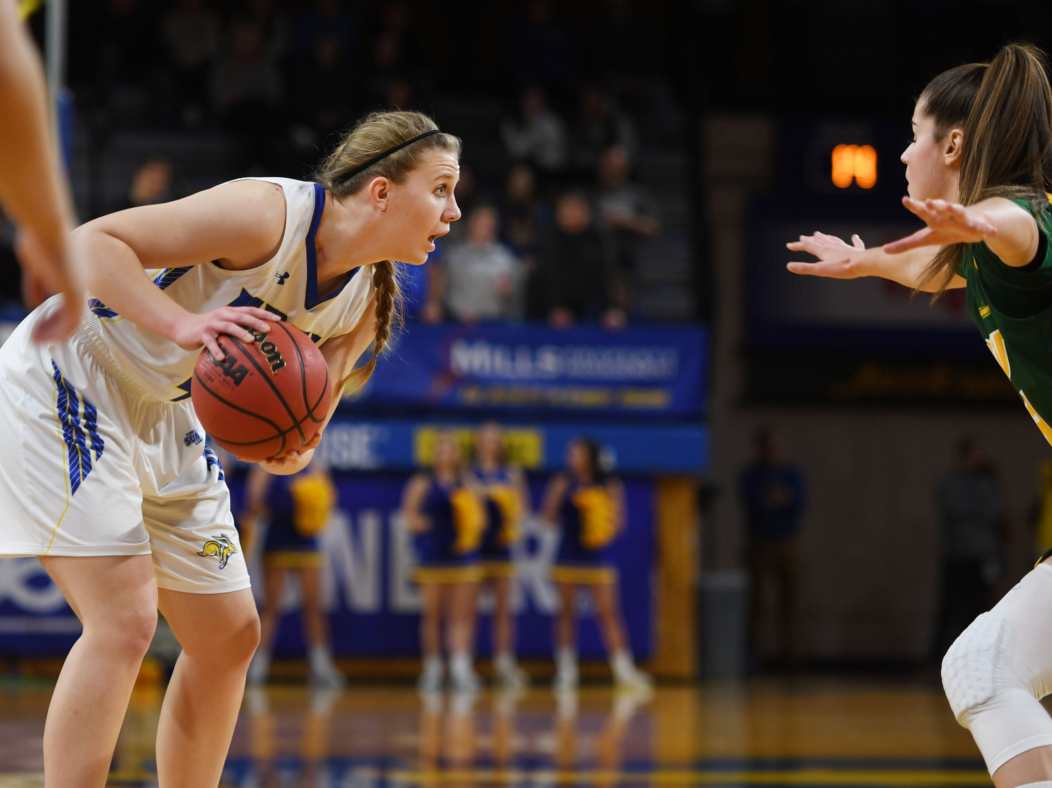 SDSU's Myah Selland goes against NDSU defense during the game Wednesday, Jan. 23, at Frost Arena in Brookings.