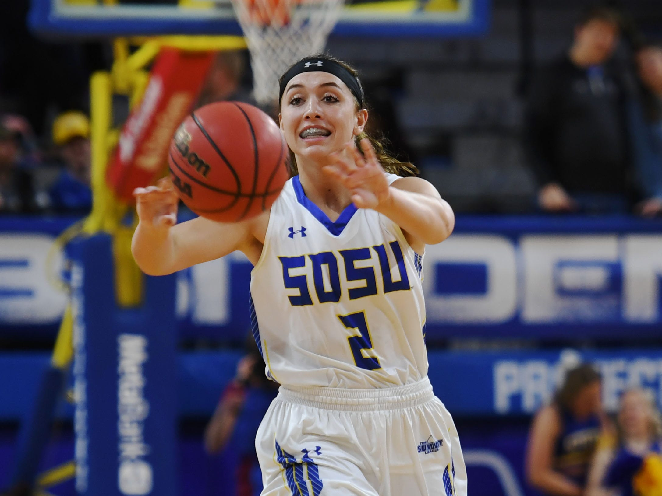 SDSU's Rylie Cascio Jensen passes the ball up the court during the game against NDSU Wednesday, Jan. 23, at Frost Arena in Brookings.