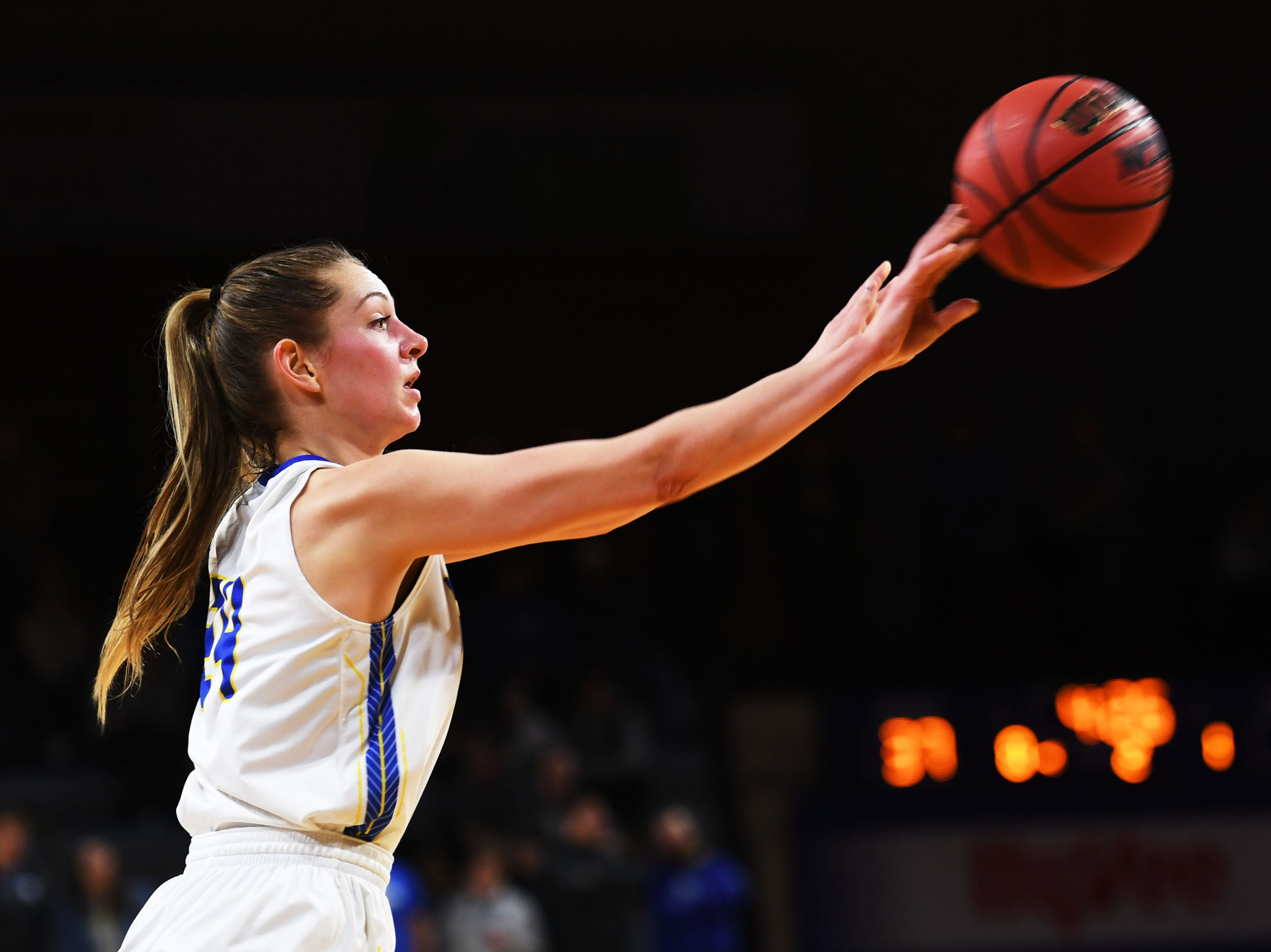 SDSU's Tagyn Larson passes the ball during the game against NDSU Wednesday, Jan. 23, at Frost Arena in Brookings.