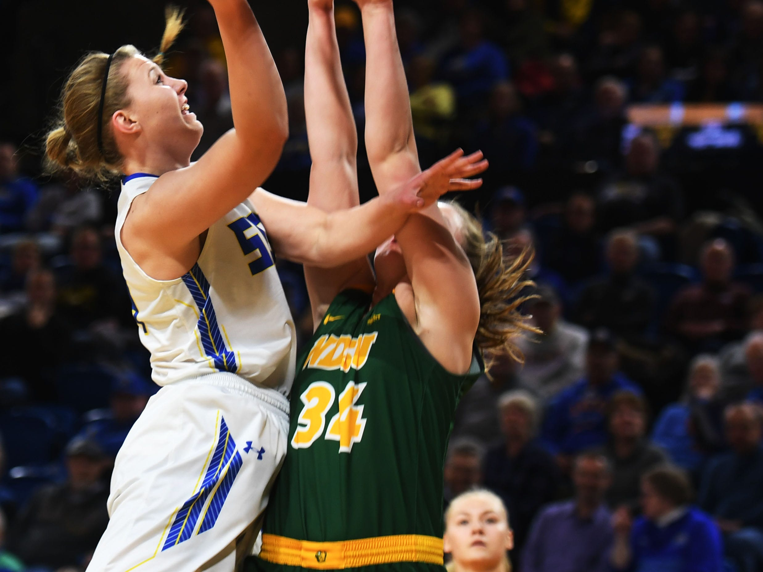 SDSU's Myah Selland attempts to score against NDSU Wednesday, Jan. 23, at Frost Arena in Brookings.