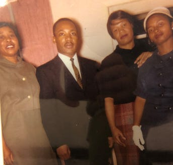 Emma Armstrong (far left) helped arrange for Martin Luther King's visit to Sioux Falls in 1961.