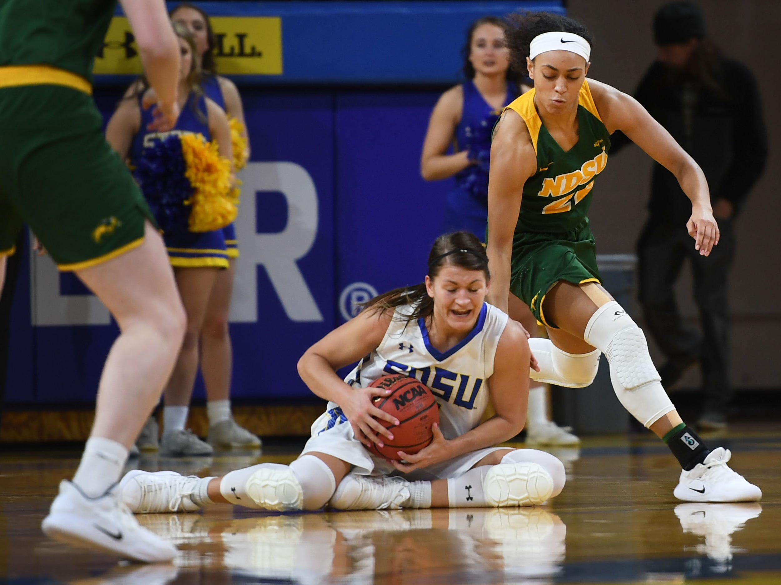SDSU's Macy Miller hangs onto the ball during the game against NDSU's Tyrah Spencer Wednesday, Jan. 23, at Frost Arena in Brookings.