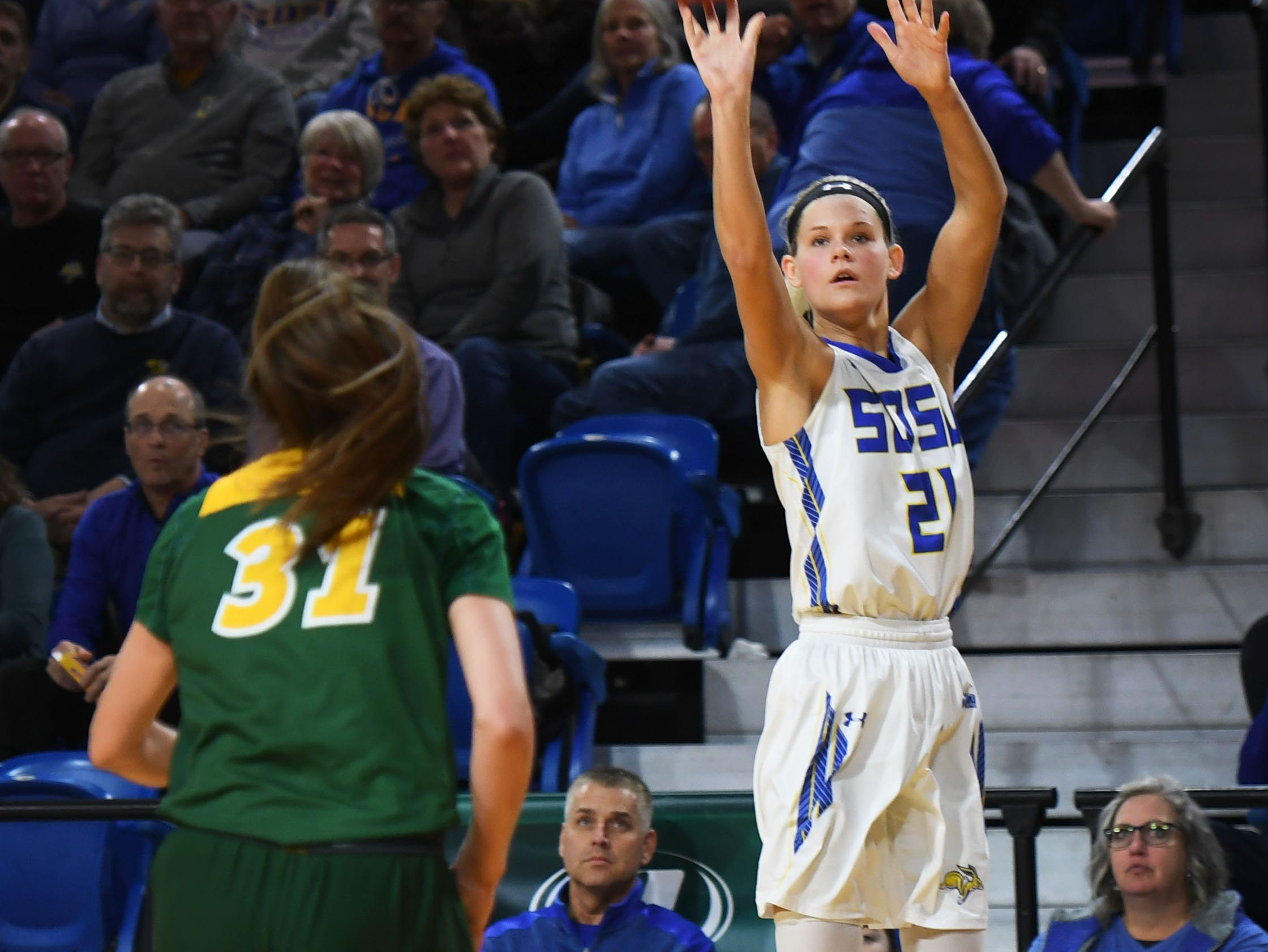 SDSU's Tylee Irwin takes a shot against NDSU during the game Wednesday, Jan. 23, at Frost Arena in Brookings.