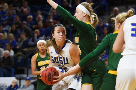SDSU's Sydney Palmer goes against NDSU defense during the game Wednesday, Jan. 23, at Frost Arena in Brookings.