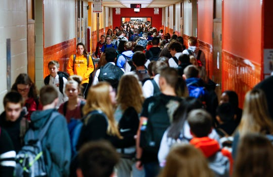 Students make their way through the halls of Republic Middle School on Thursday, Jan. 17, 2019. With nearly 1,200 students, Republic has largest middle school in southwest Missouri.