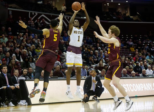 Keandre Cook, of Missouri State, hits a three-pointer during the Bears 70-35 win over Loyola at JQH Arena on Wednesday, Jan. 23, 2019.
