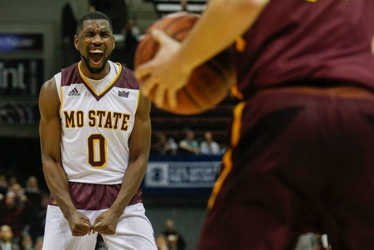 Josh Webster, of Missouri State, screams out during the Bears 70-35 win over Loyola at JQH Arena on Wednesday, Jan. 23, 2019.