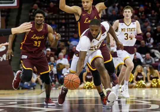 Kabir Mohammed, of Missouri State, brings the ball down the court during the Bears game against Loyola at JQH Arena on Wednesday, Jan. 23, 2019.
