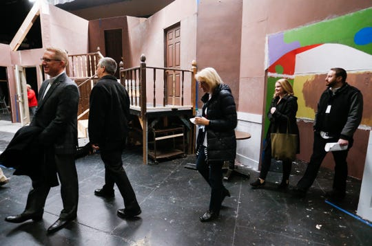 Nixa High School administrators and school board members tour the theater at the school on Thursday, Jan. 24, 2019.