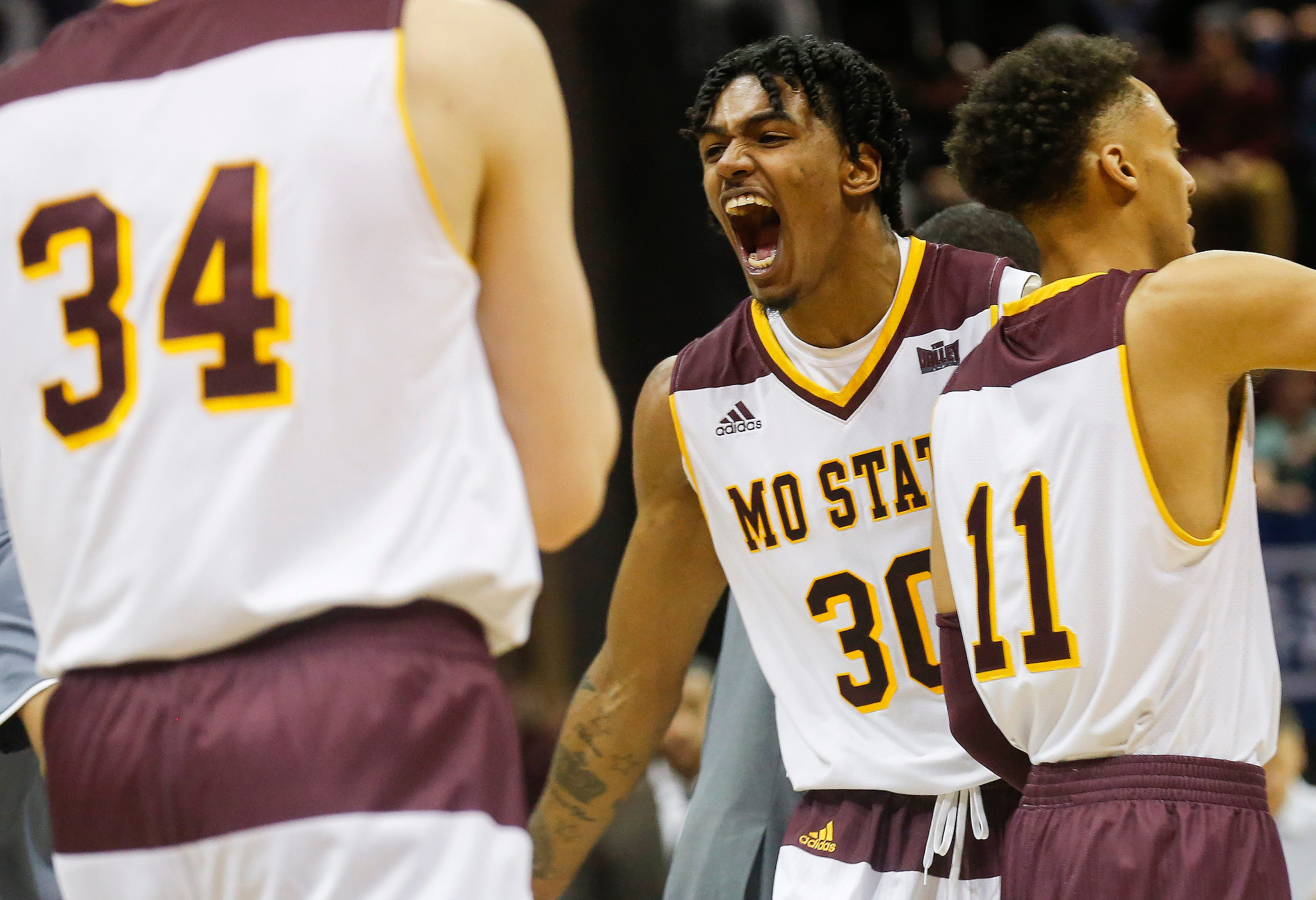 Tulio Da Silva, of Missouri State, screams out during the Bears 70-35 win over Loyola at JQH Arena on Wednesday, Jan. 23, 2019.