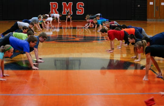 Students participate in a game during gym class at Republic Middle School on Thursday, Jan. 17, 2019. With nearly 1,200 students, Republic has largest middle school in southwest Missouri.