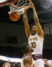 Tulio Da Silva, of Missouri State, dunks the ball during the Bears 70-35 win over Loyola at JQH Arena on Wednesday, Jan. 23, 2019.