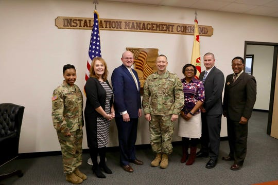 OTC and Fort Leonard Wood officials, from left, including Command Sgt. Maj. Faith Alexander, OTC Provost Tracy McGrady, OTC Chancellor Hal Higdon, U.S. Army Fort Leonard Wood Garrison Commander Eric Towns, OTC Waynesville Center Dean Rosalind Pride, Executive Dean of OTC Education Centers Dusty Childress, and Education Service Officer Norris Johnson.