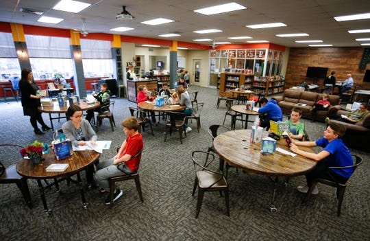 Students and faculty in the library at Republic Middle School on Thursday, Jan. 17, 2019.