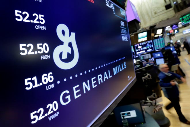 In this Feb. 2018 file photo, the logo for General Mills appears above a trading post on the floor of the New York Stock Exchange. The company employs 1,028 people in Rutherford County.