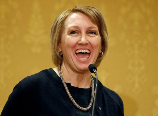 """In this Jan., 7, 2019, photo, Rep. Karianne Lisonbee, R - Clearfield, speaks during the Utah Taxpayers Association 2019 legislative outlook conference, in Salt Lake City. Republican lawmakers in Utah are proposing a pair of bills to restrict abortions, including a ban on the procedure after 15 weeks that would be among the strictest laws in the nation. Lisonbee, wants to ban abortions sought because the fetus has Down syndrome. She says it would prevent the """"mass extermination"""" of an entire group of people. (AP Photo/Rick Bowmer)"""