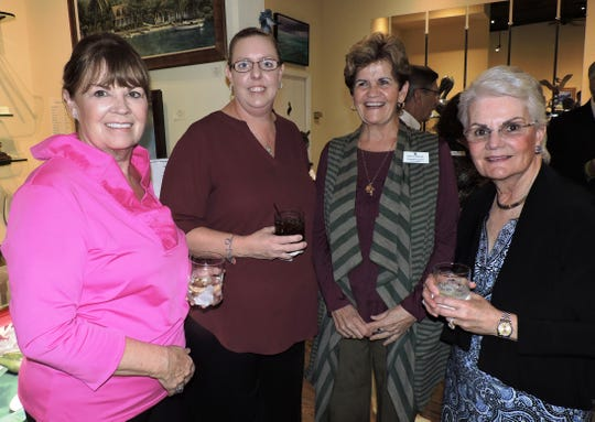 Regina Glynn, left, April Young, resident case manager of Mary's Shelter, Florence Oreiro and Barbara Ginnetti at a VIP reception at Geoffrey Smith Gallery in Stuart for Mary's Angels Giving Circle.