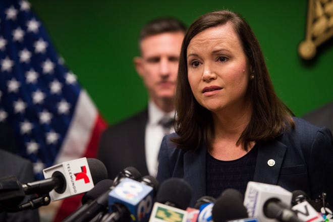 Florida's Attorney General Ashley Moody speaks at the Highlands County Sheriff's Office during a news conference Thursday, Jan. 24, 2019, about the five people killed Wednesday at a SunTrust Bank branch in Sebring, Fla.