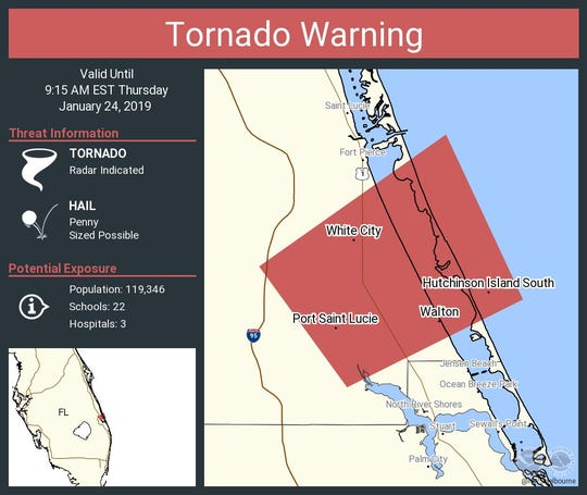 Tornado warning issued for St. Lucie County until 9:15 a.m. Jan. 24, 2019.
