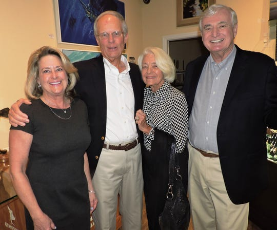 Barbara and Ross Strickland, left, with Pat Baxter and Ron Cawley at a VIP reception at Geoffrey Smith Gallery in Stuart for Mary's Angels Giving Circle.